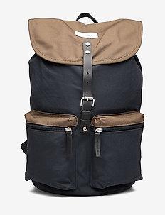 ROALD - plecaki - multi navy / olive with black leather