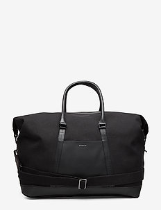 FRANS - torby weekendowe - black twill with black leather