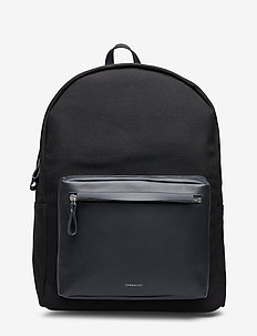 INGVAR TWILL - ryggsekker - black twill with navy leather