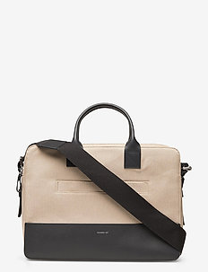 SETH - laptoptassen - beige twill with navy leather