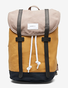 STIG - rugzakken - multi earth brown / honey yellow / navy with natural leather