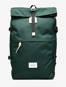 BERNT - tassen - dark green with natural leather