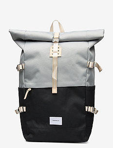 BERNT - ryggsekker - multi grey/black with natural leather
