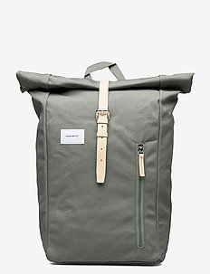 DANTE - ryggsekker - dusty green with natural leather
