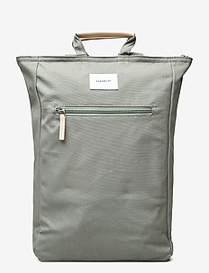TONY - ryggsekker - dusty green with natural leather