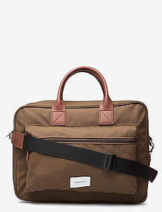 EMIL - laptoptassen - olive with cognac brown leather