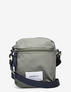 SIXTEN VEGAN - sacs à bandoulière - dusty green with navy webbing