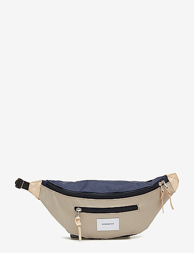 ASTE - sacs banane - multi beige/blue with natural leather