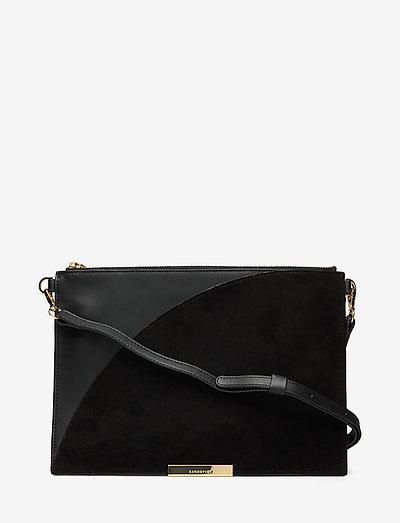 GRETA - shoulder bags - black with black suede