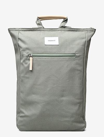 TONY - plecaki - dusty green with natural leather