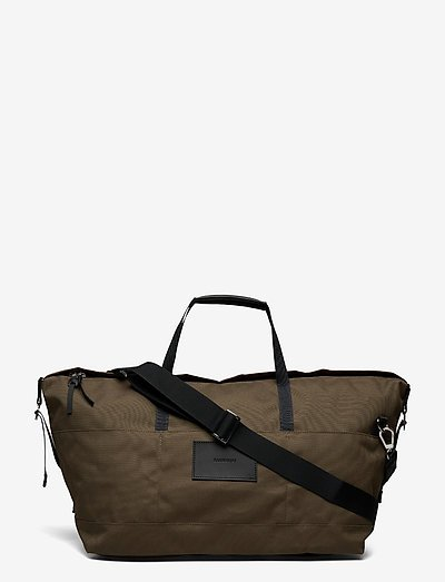 MILTON - torby weekendowe - olive with black leather