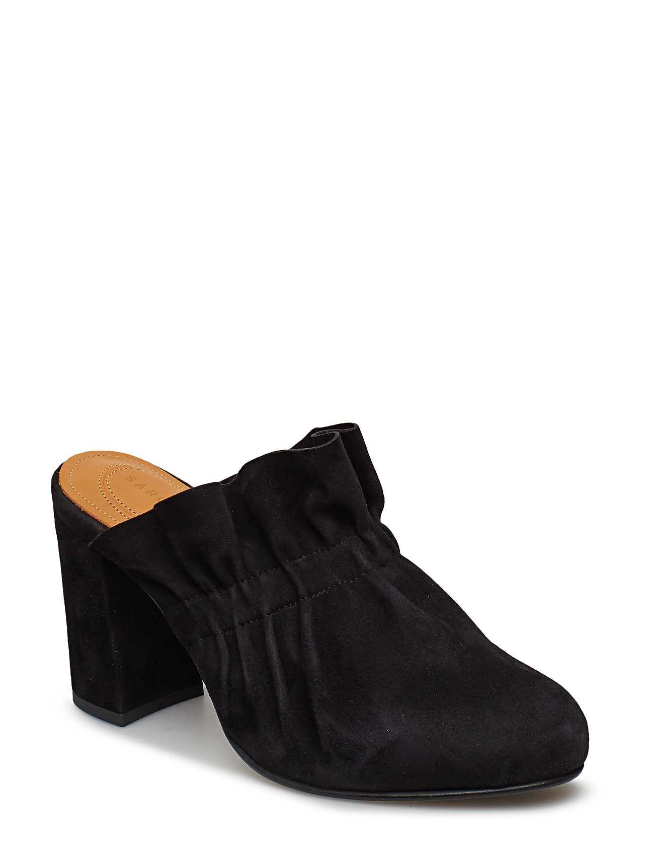 Image of Unique Suede Mules Slip-ins Sort Sargossa (3143623861)