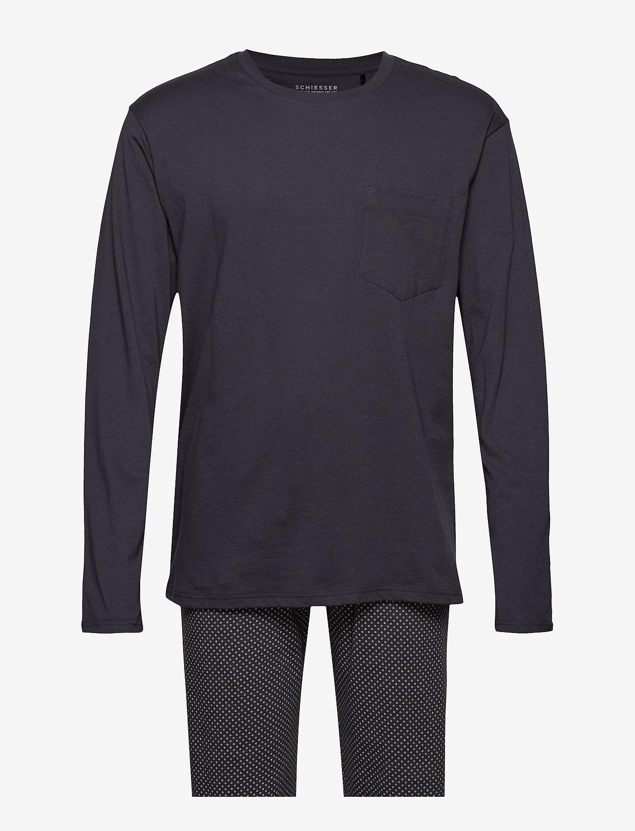 Schiesser - Pyjama Long - pyjamas - anthracite - 0