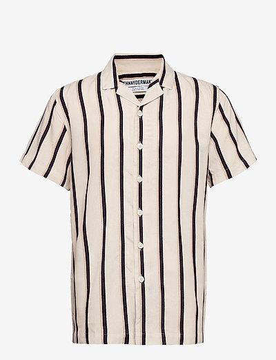 Shirt Notch SS Viscose Silk Terry Stripe - oxford-skjorter - cream, blue and red