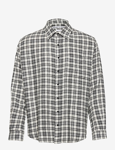 SHIRT NON-BINARY VISCOSE WOOL CHECK - chemises de lin - black and grey
