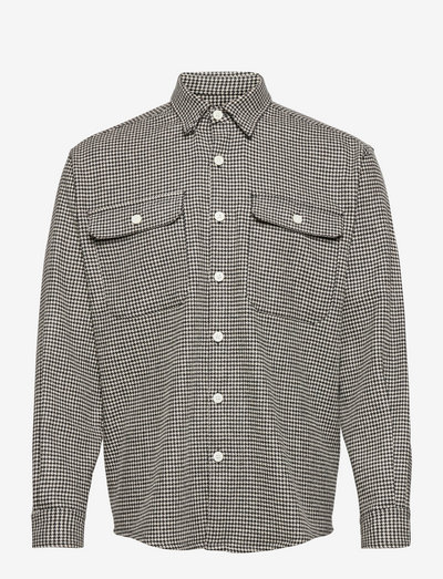 SHIRT BOXY HOUNDSTOOTH - chemises de lin - black and white