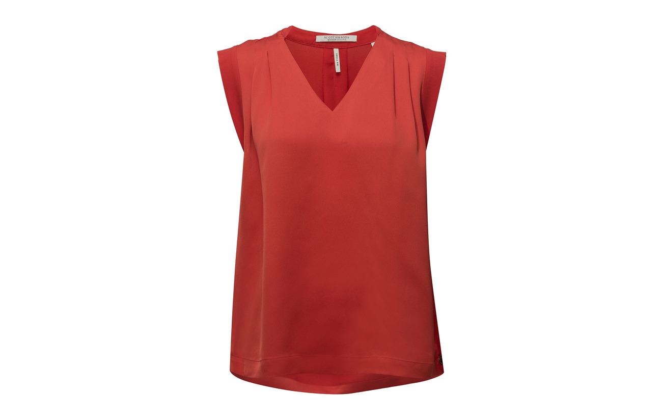 100 Top Sleeveless Polyester Soda Feel Scotch Silky amp; Red Poppy THfw8qB8