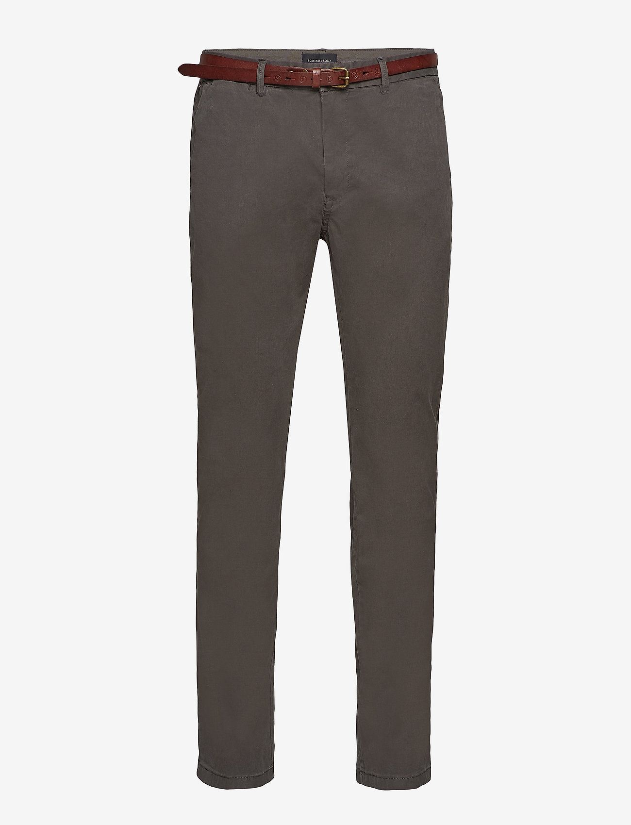 Scotch & Soda - Slim fit cotton/elastan garment dyed chino pant - chinos - charcoal - 0