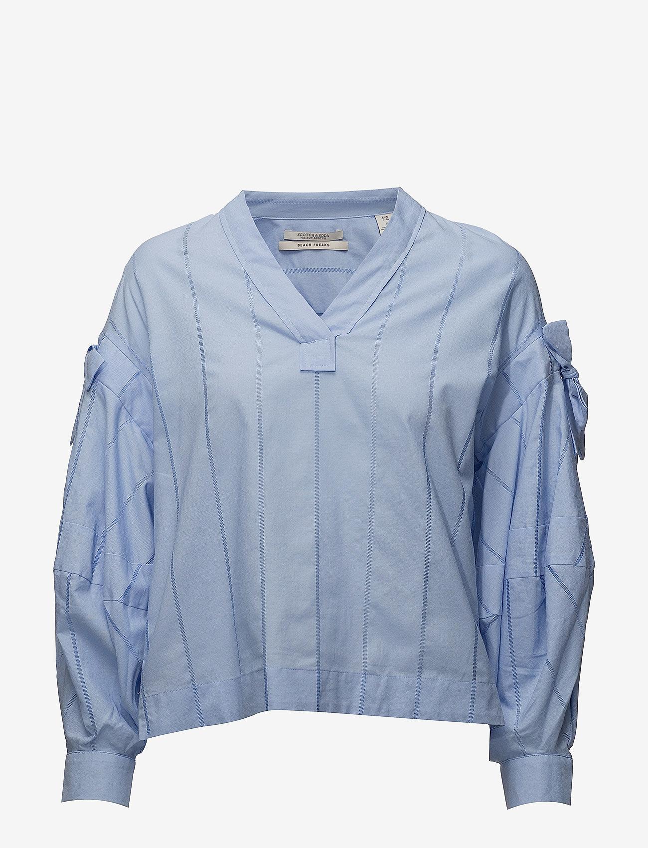 Scotch & Soda - V-neck cotton top - pitkähihaiset t-paidat - sky blue