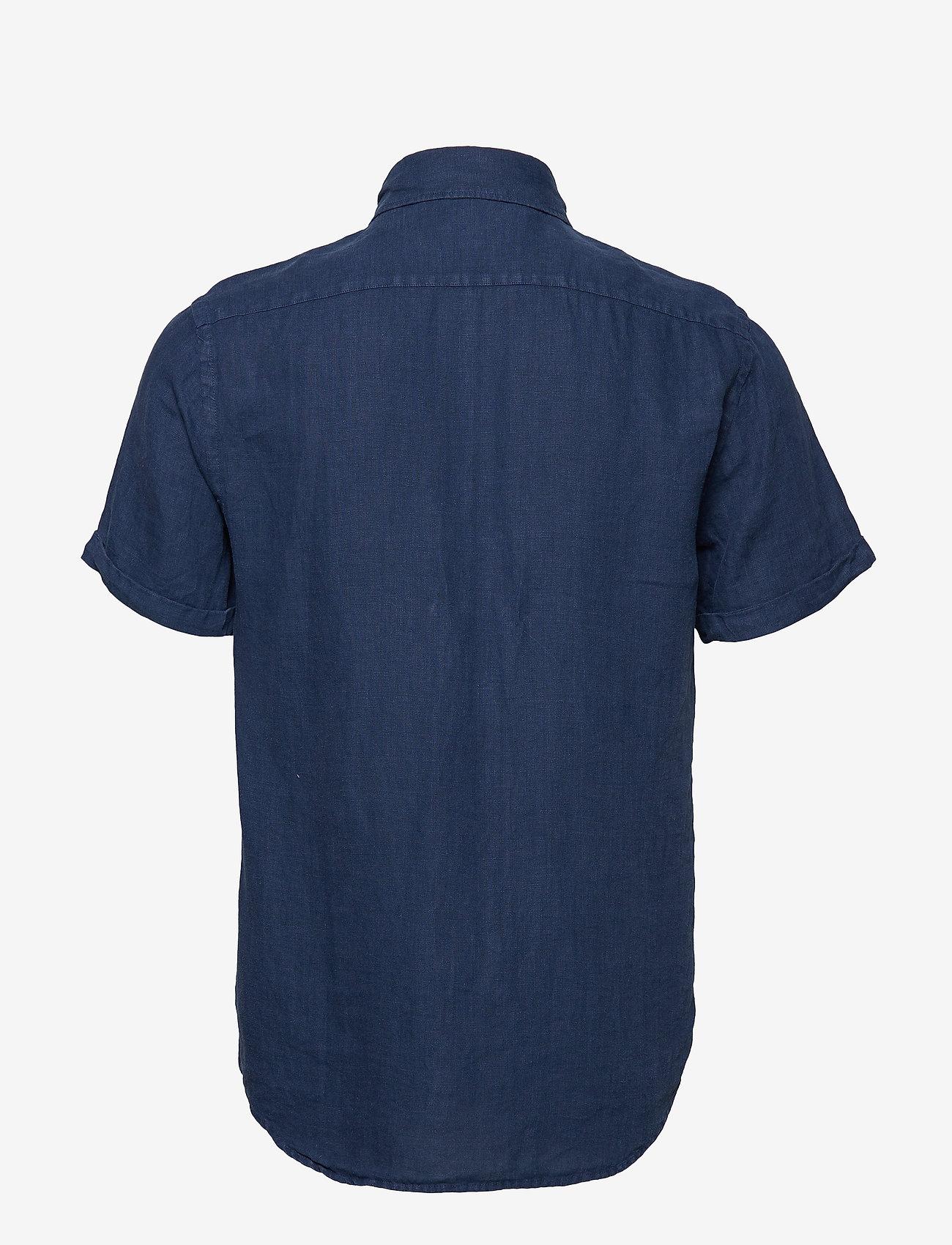 Scotch & Soda - REGULAR FIT- Garment-dyed linen shortsleeve shirt - basic skjorter - denim blue - 1