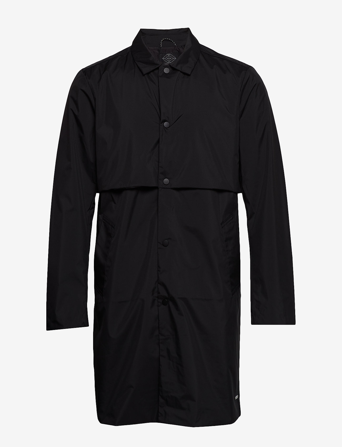 Scotch & Soda - Ams Blauw clean trenchcoat in coated quality - trench coats - black - 0