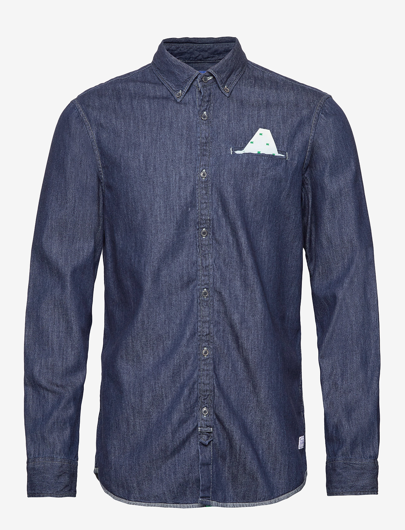 Scotch & Soda - Ams Blauw regular fit denim shirt with pochet pocket detail - podstawowe koszulki - indigo blue - 0