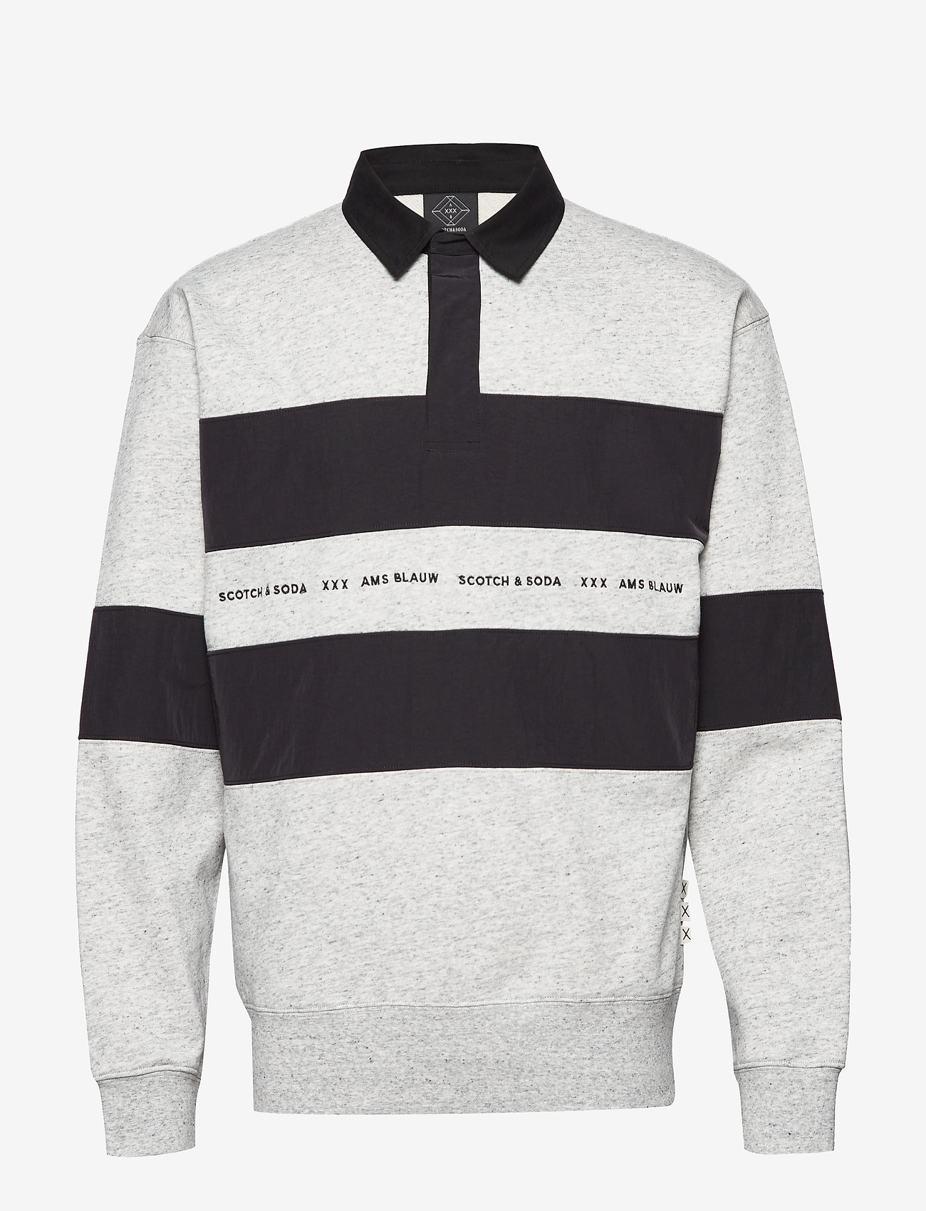 Scotch & Soda - Polo sweat with technical woven  details - polos à manches longues - light grey melange - 0