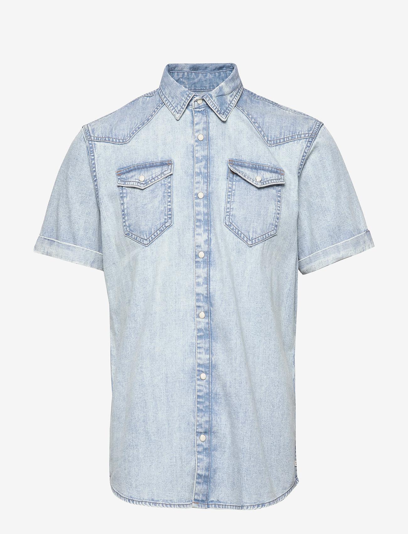 Scotch & Soda - Ams Blauw short sleeve denim western shirt with seasonal was - denimskjorter - bleached indigo - 0