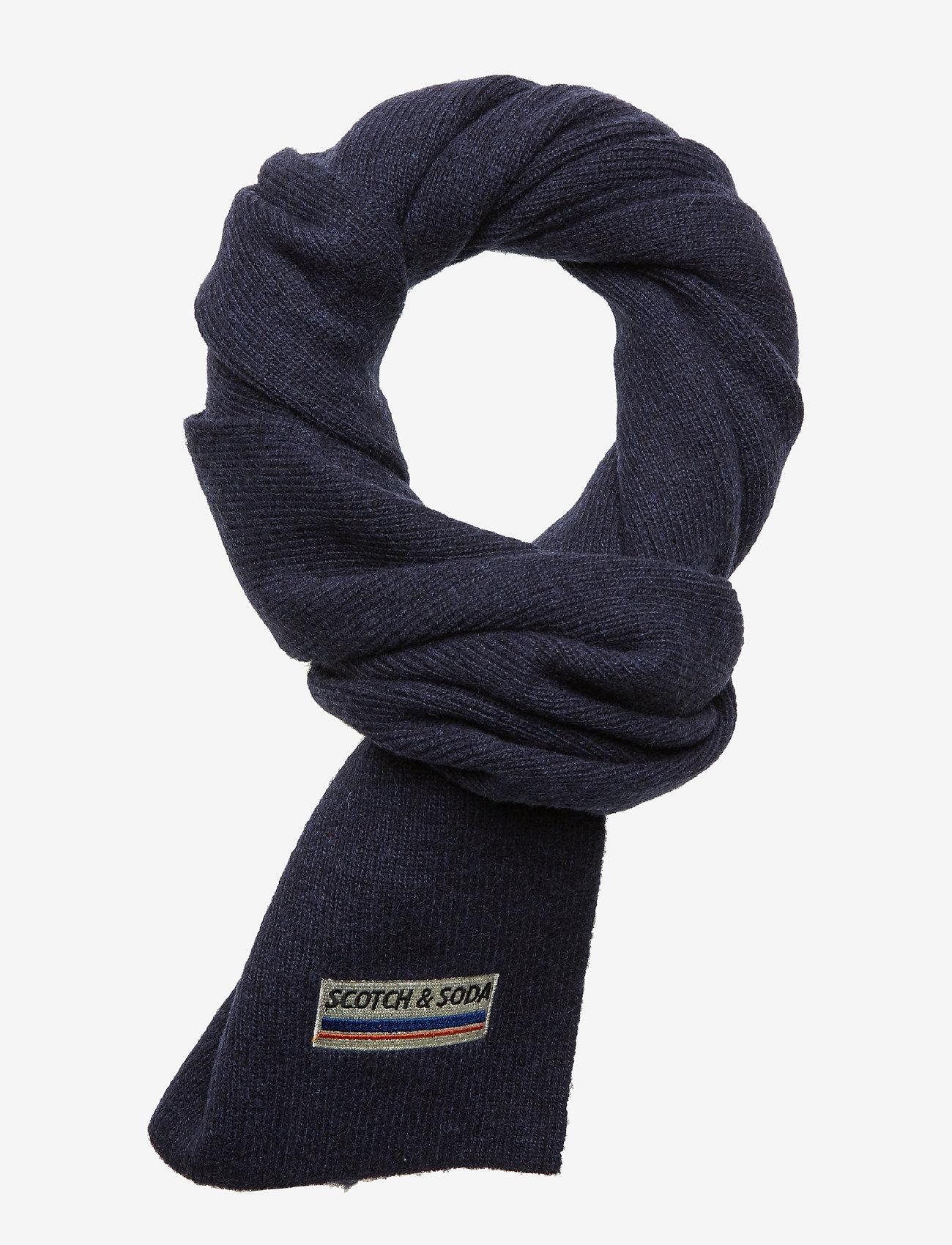 Scotch & Soda - Classic rib knit scarf in soft wool-blend quality - scarves - night - 0