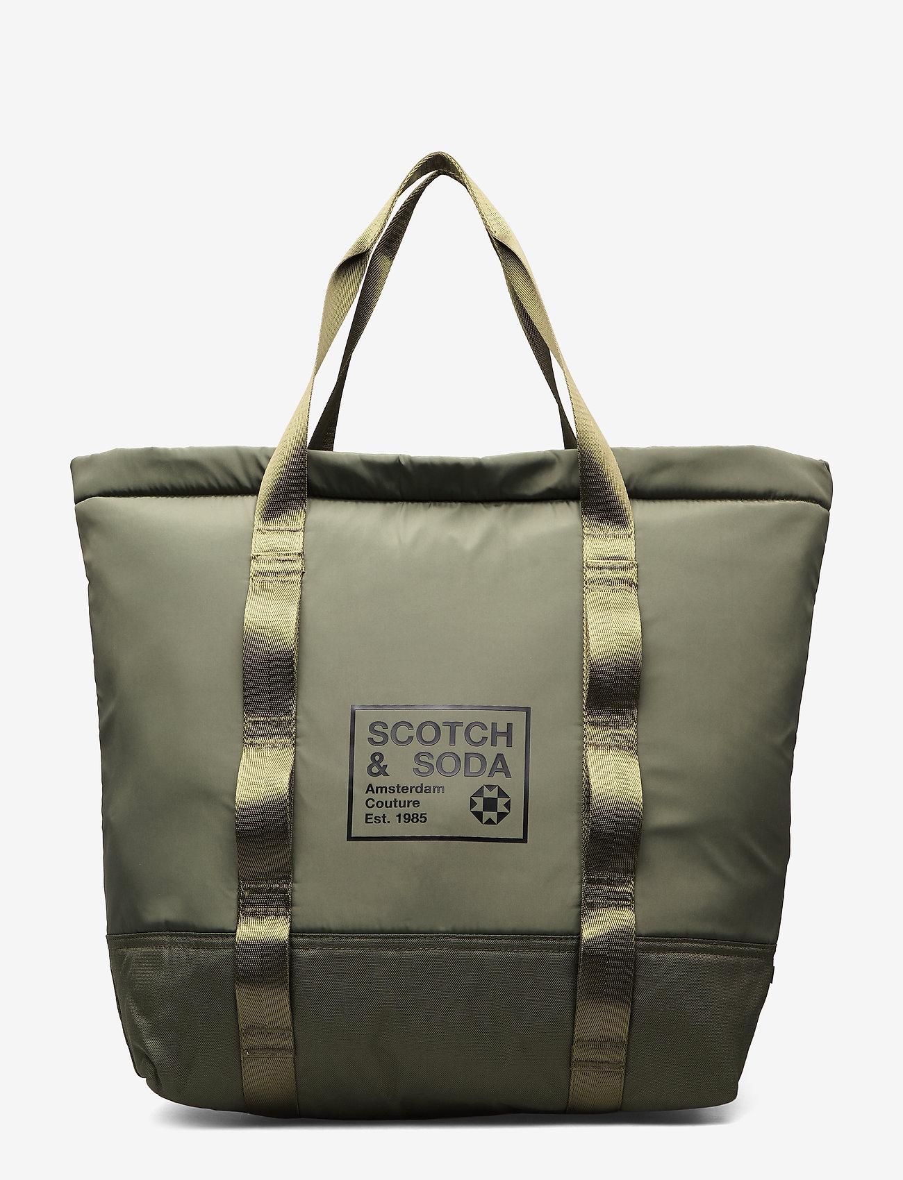 Scotch & Soda - Padded shopper with logo print - weekend bags - army - 0