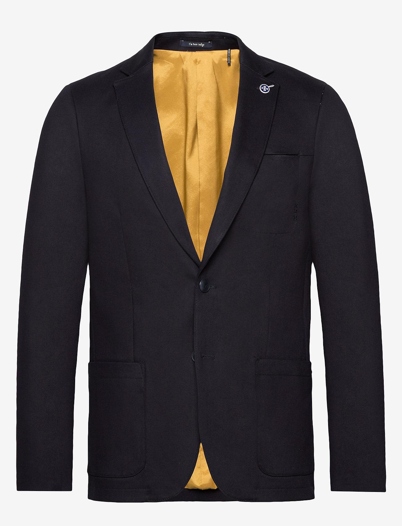 Scotch & Soda - Ams Blauw stretch denim blazer - blazers à boutonnage simple - indigo - 0