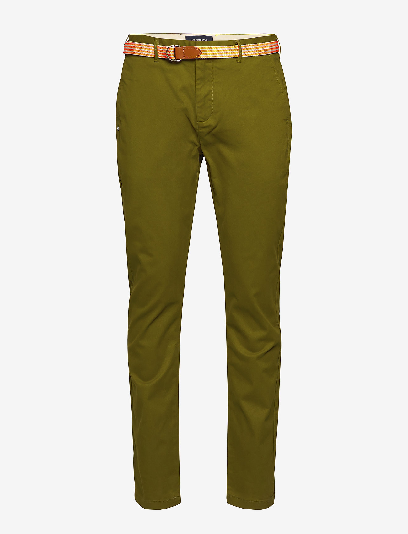 Scotch & Soda - Ams Blauw stretch Stuart chino with belt - chinos - military green - 0
