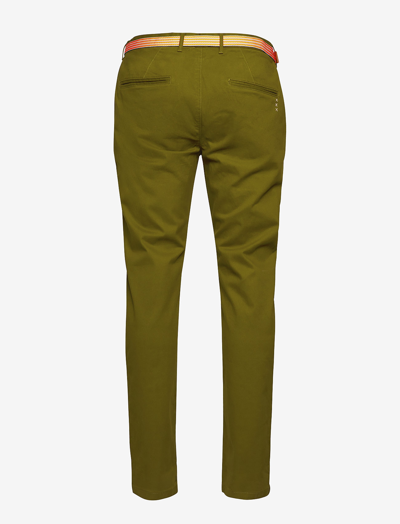 Scotch & Soda - Ams Blauw stretch Stuart chino with belt - chinos - military green - 1