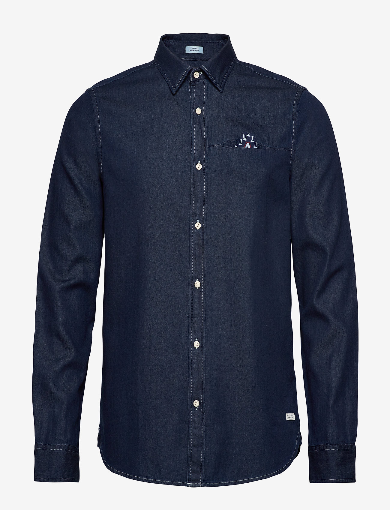 Scotch & Soda - Long sleeve indigo shirt with pochet pocket - chemises basiques - combo a - 0