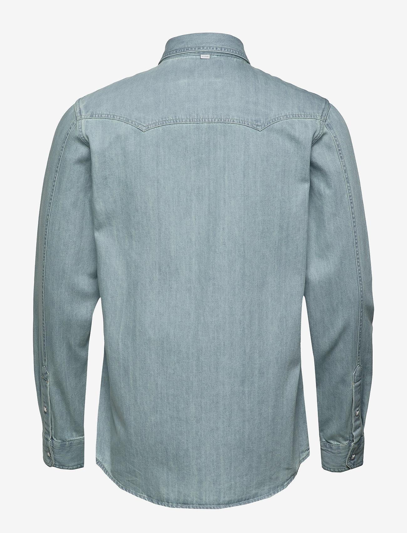 Scotch & Soda - Ams Blauw denim western shirt in seasonal washes - chemises basiques - bleached indigo - 1
