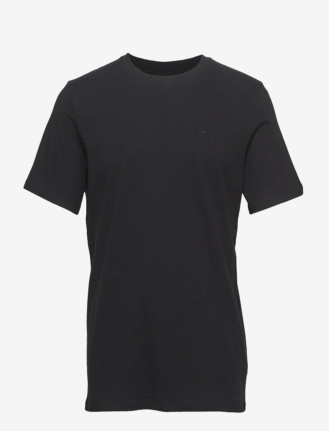 Scotch & Soda - Cotton tee with wider neck rib - t-shirts basiques - black - 0