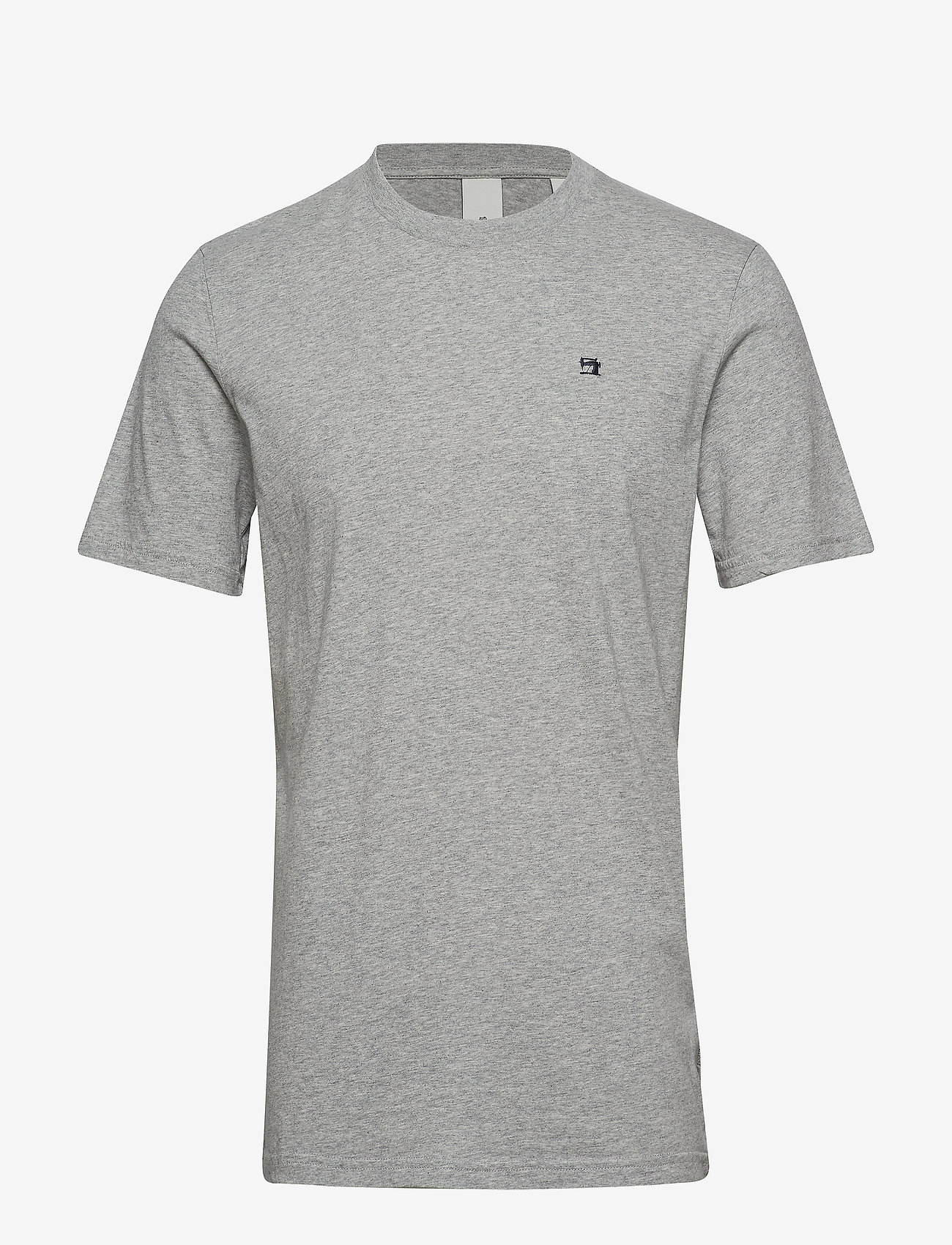Scotch & Soda - Cotton tee with wider neck rib - t-shirts basiques - grey melange - 0