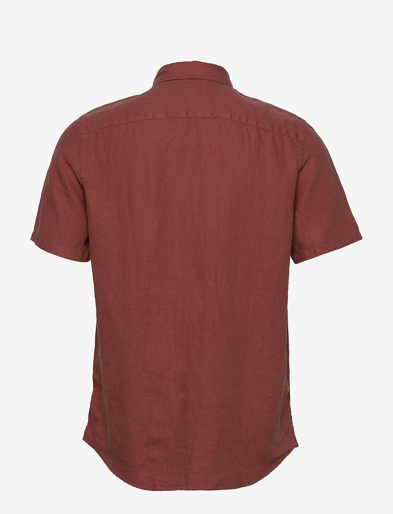 Scotch & Soda - REGULAR FIT- Shortsleeve garment -dyed linen shirt - basic skjorter - cinnabar - 1