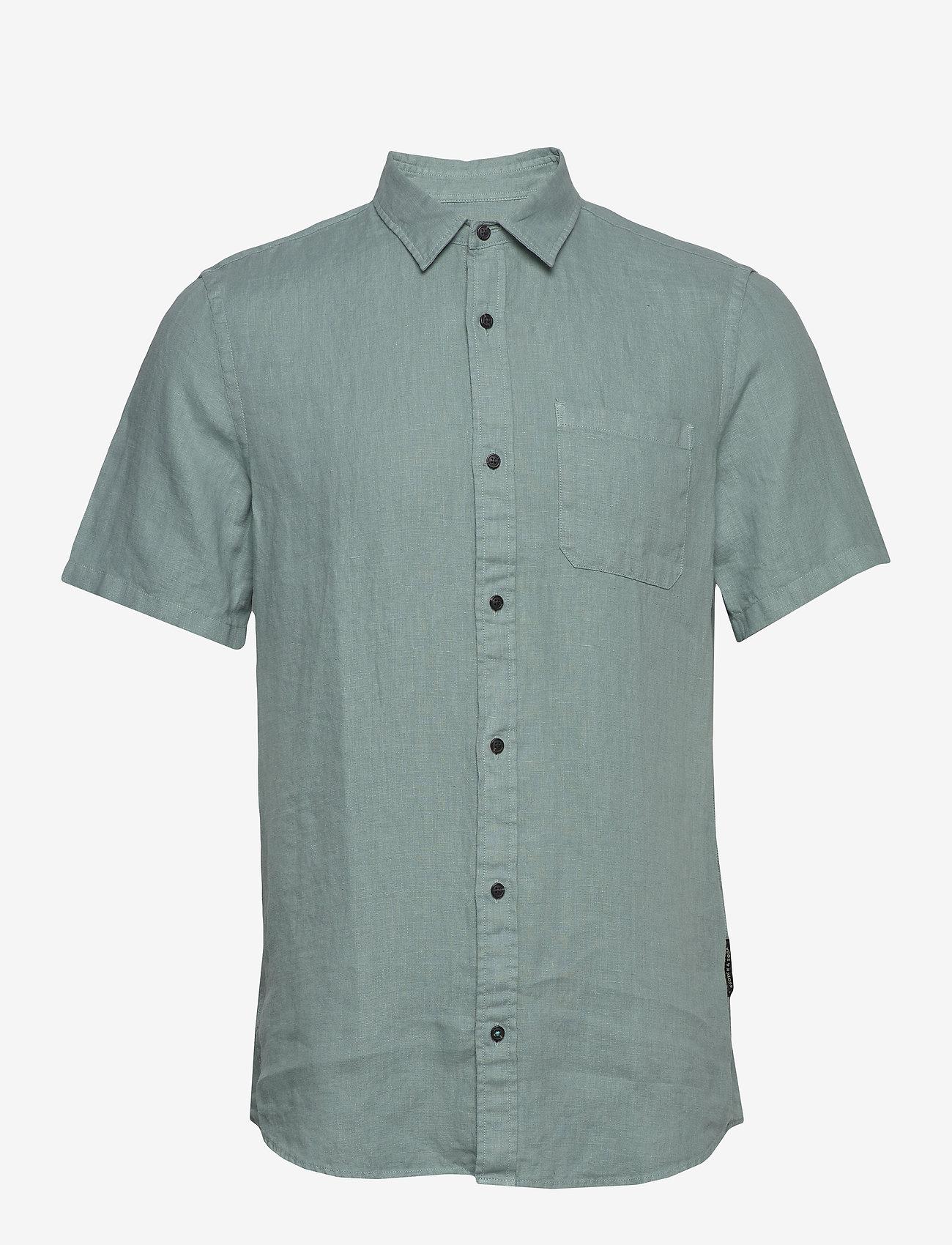Scotch & Soda - REGULAR FIT- Shortsleeve garment -dyed linen shirt - basic shirts - emerald - 0