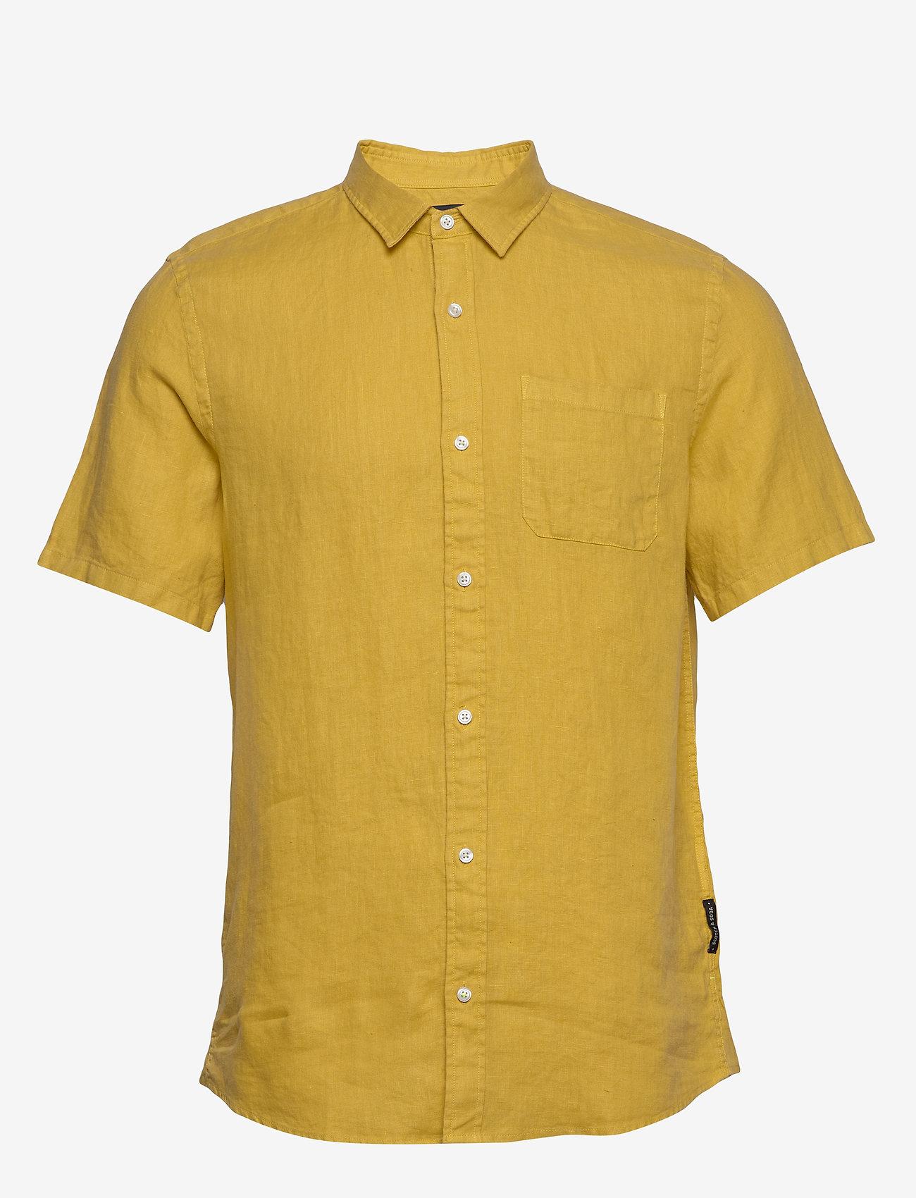 Scotch & Soda - REGULAR FIT- Shortsleeve garment -dyed linen shirt - basic shirts - saffron - 0
