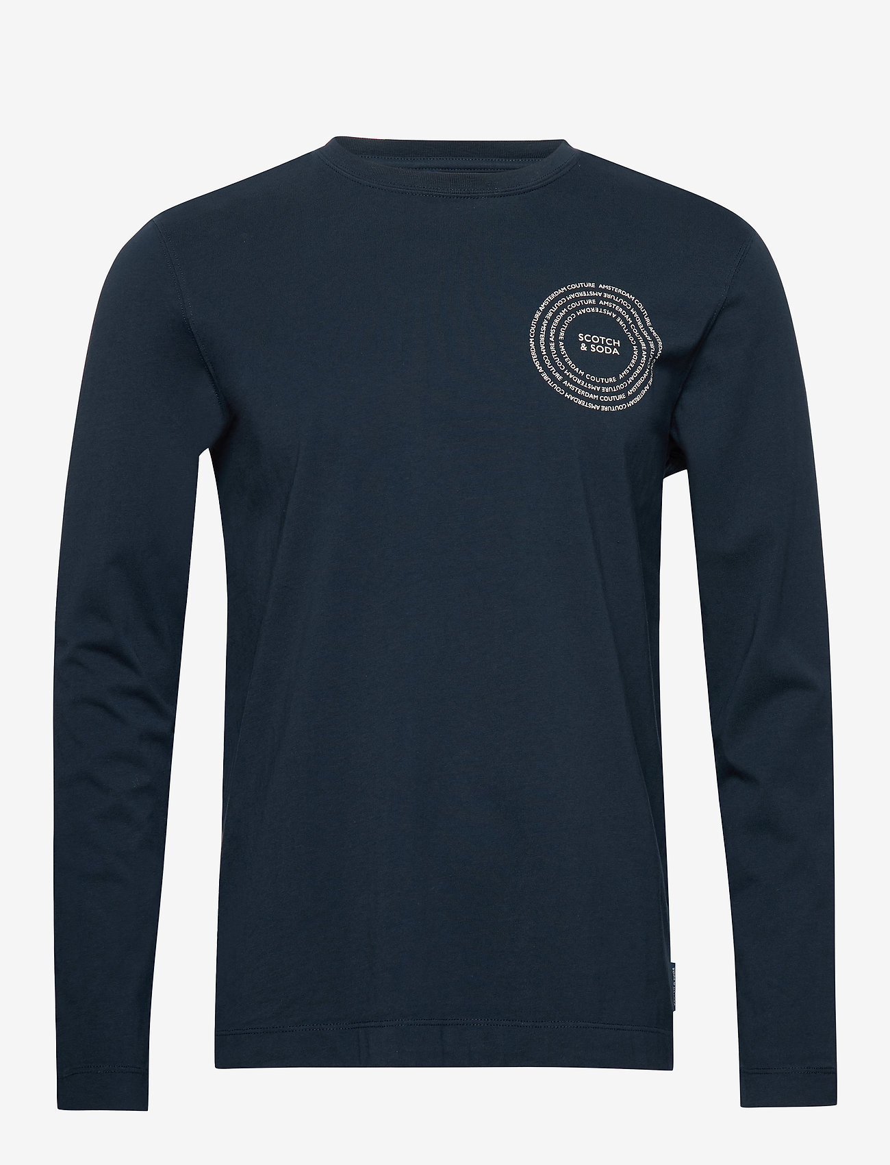 Scotch & Soda - Organic cotton longsleeve tee with chest artwork - basic t-shirts - night - 0