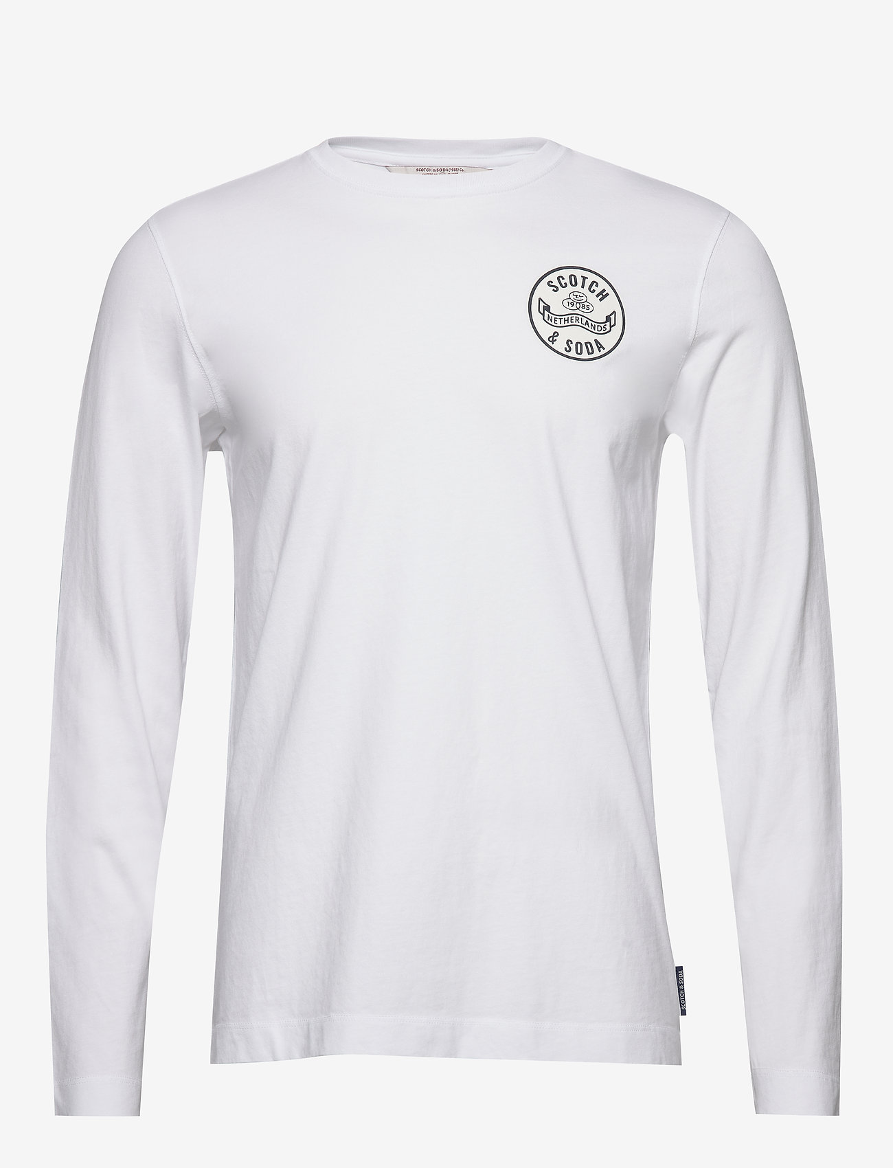 Scotch & Soda - Organic cotton longsleeve tee with chest artwork - t-shirts basiques - white - 0