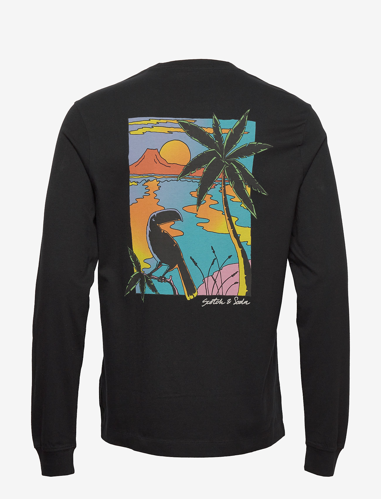 Scotch & Soda - Longsleeve crewneck tee with artworks - basic t-shirts - black - 1
