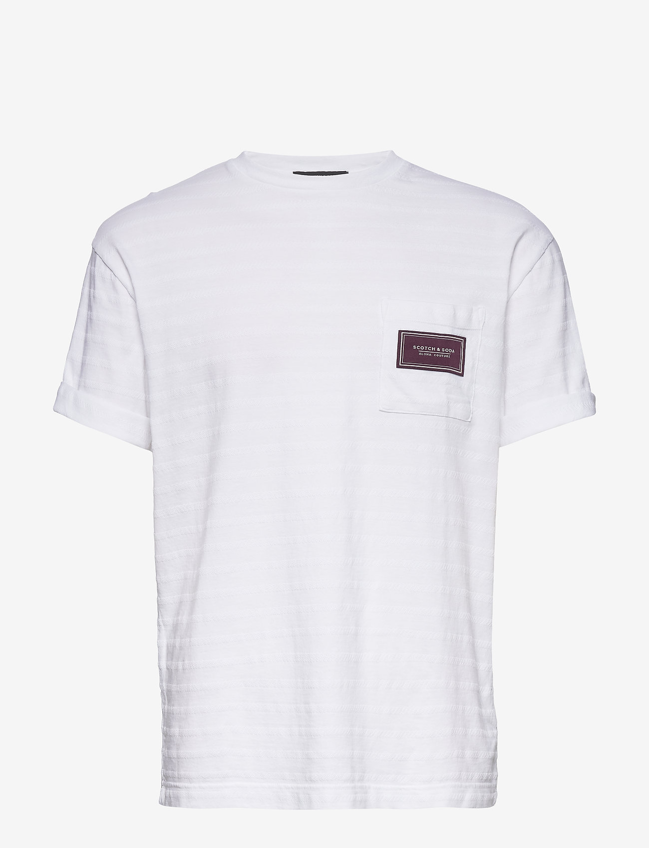 Scotch & Soda - Relaxed crewneck tee in structured stripe pattern - t-shirts basiques - off white - 0