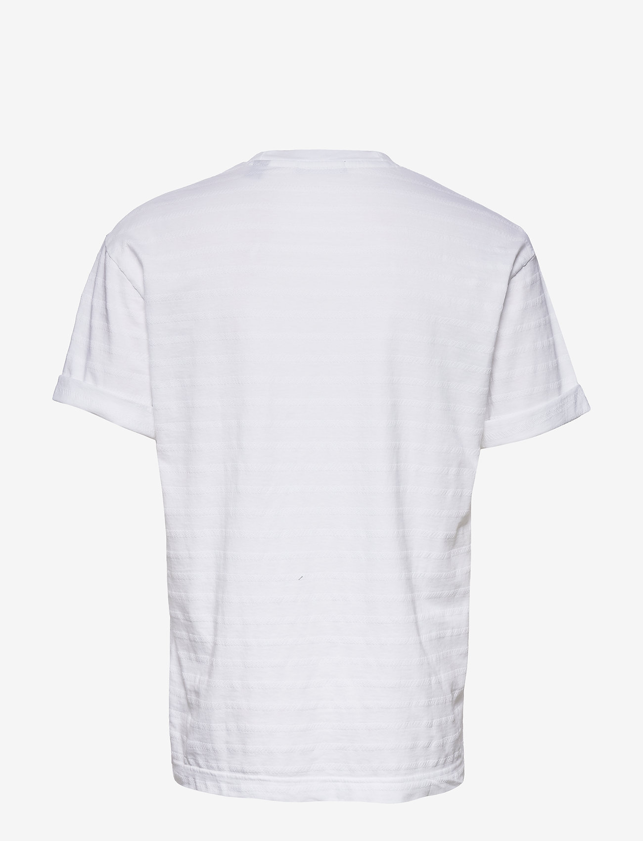 Scotch & Soda - Relaxed crewneck tee in structured stripe pattern - t-shirts basiques - off white - 1