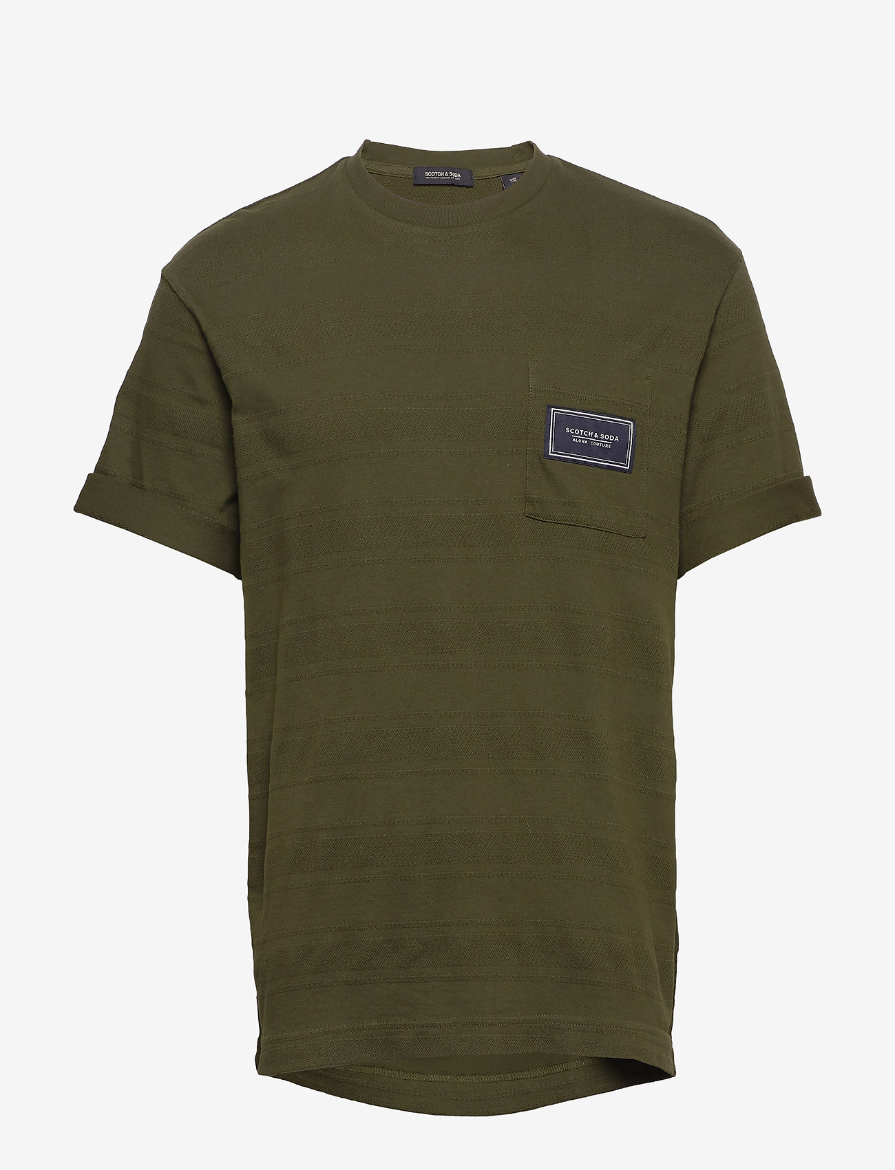 Scotch & Soda - Relaxed crewneck tee in structured stripe pattern - t-shirts basiques - utility green - 0