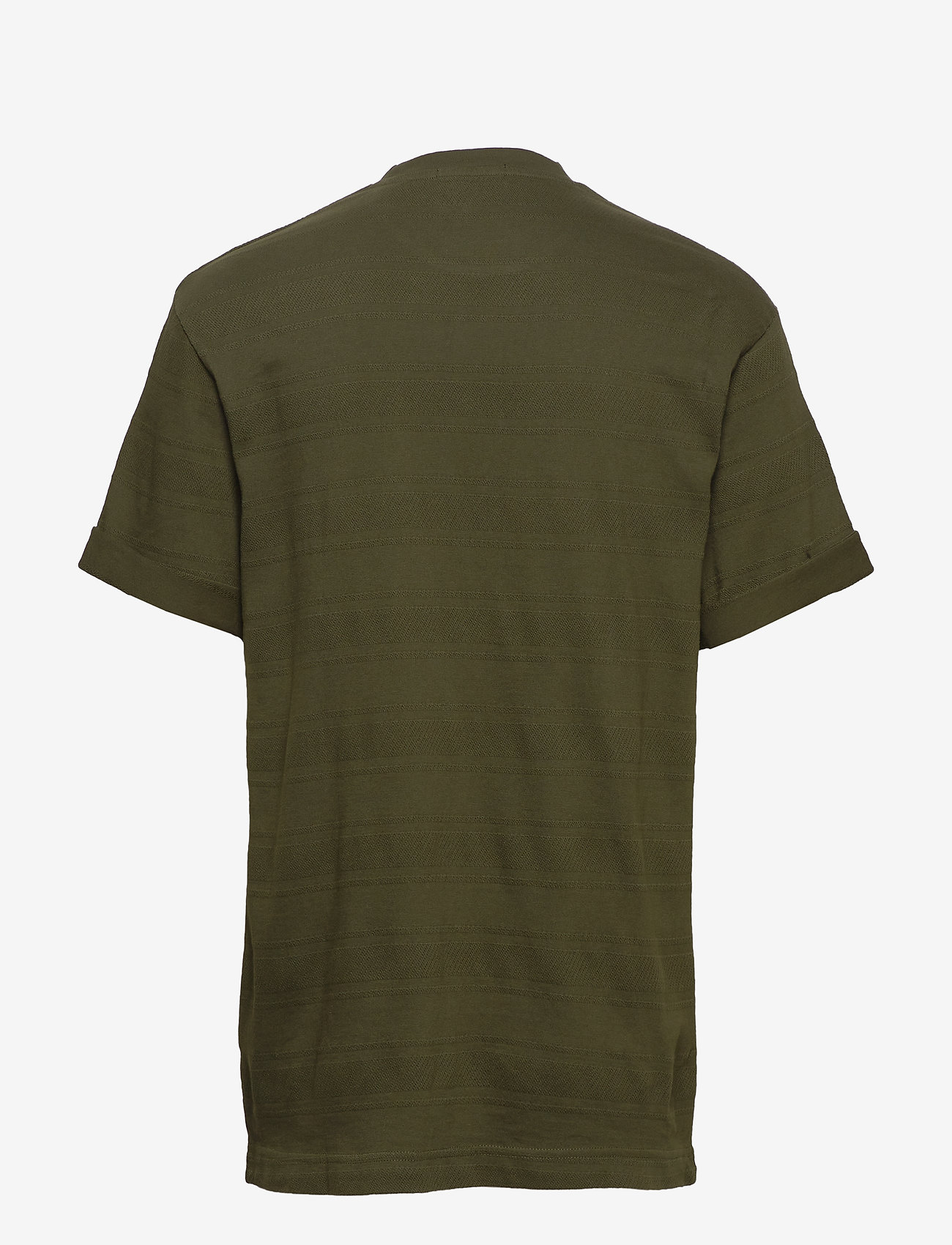 Scotch & Soda - Relaxed crewneck tee in structured stripe pattern - t-shirts basiques - utility green - 1