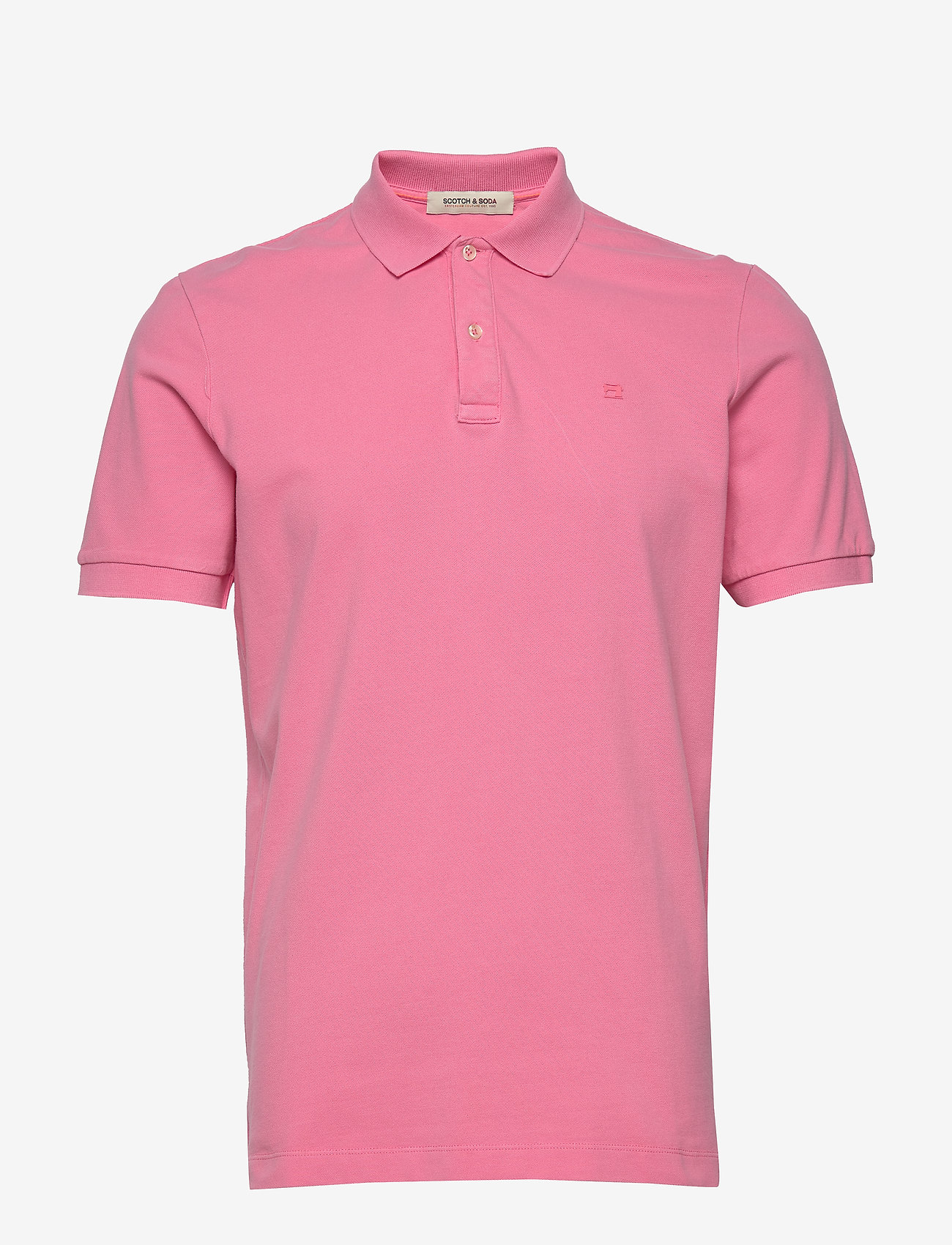 Scotch & Soda - Garment-dyed stretch pique polo - short-sleeved polos - hibiscus pink - 0