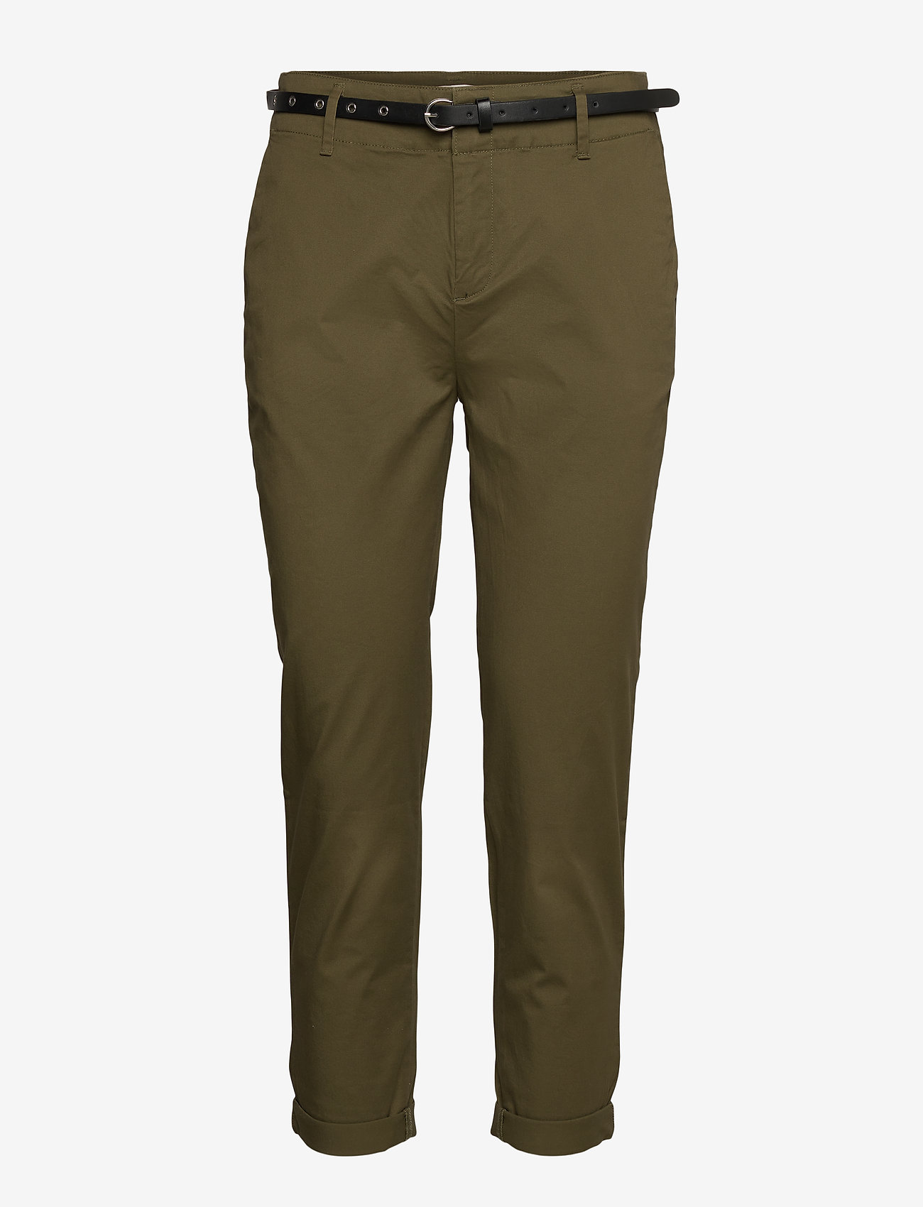 Scotch & Soda - Regular fit chino, sold with a belt - chinos - military - 0