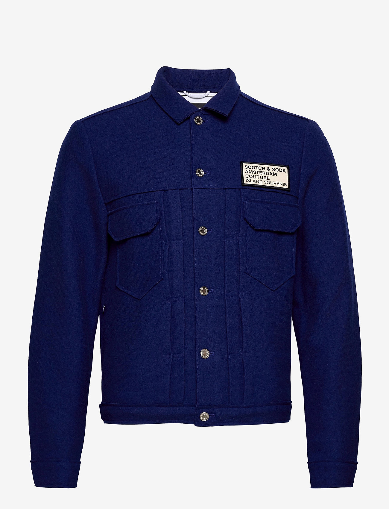 Scotch & Soda - Trucker jacket in boiled wool with chest badge - wool jackets - yinmin blue - 0